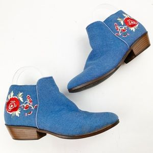 Boho Embroidered Western Ankle Booties Denim BB347